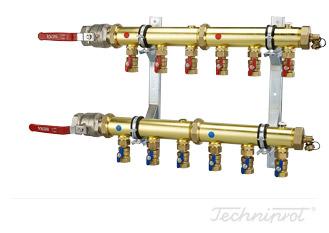 Rozdzielacze 1½'' modułowe do dolnego źródła pomp ciepła, instalacji CO lub innych systemów grzewczych - z zaworami kulowymi