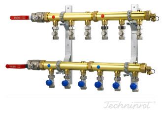 Rozdzielacze 1½'' modułowe do dolnego źródła pomp ciepła, instalacji CO lub innych systemów grzewczych - z zaworami regulacyjnymi