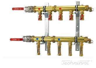 Rozdzielacze 1½'' modułowe do dolnego źródła pomp ciepła, instalacji CO lub innych systemów grzewczych - ze wkaźnikami przepływu 4÷15 l/min