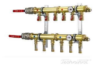 Rozdzielacze 2'' modułowe do dolnego źródła pomp ciepła, instalacji CO lub innych systemów grzewczych - ze wkaźnikami przepływu 4÷16 l/min (glikol)