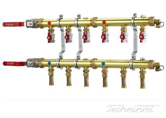 Rozdzielacze 1¼'' modułowe do dolnego źródła pomp ciepła, instalacji CO lub innych systemów grzewczych - ze wkaźnikami przepływu